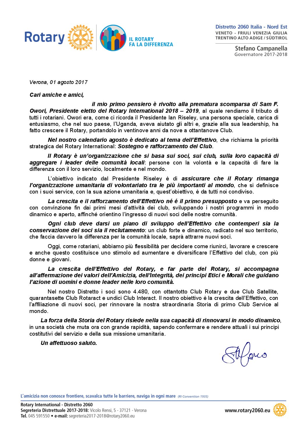 Lettere del Mese del Governatore - Agosto 2017