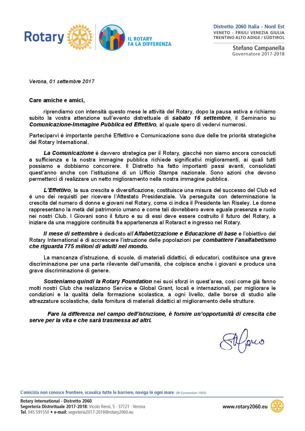 Lettere del Mese del Governatore - Settembre 2017